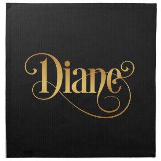 Personalized Swirly Script Diane Gold on Black Napkins