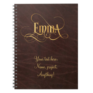 Personalized Swirly Script Emma Gold on Leather Notebook