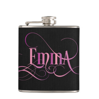 Personalized Swirly Script Emma Pink on Black Hip Flask