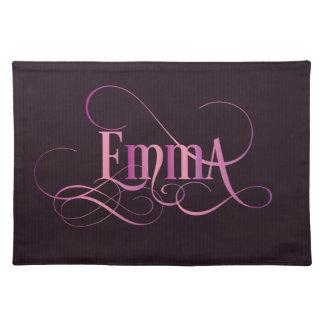 Personalized Swirly Script Emma Pink on Purple Placemat