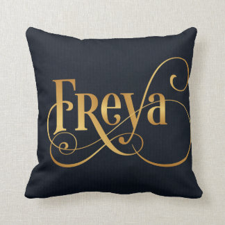 Personalized Swirly Script Freya Gold on Deep Blue Cushion