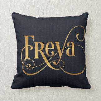 Personalized Swirly Script Freya Gold on Deep Blue Pillows
