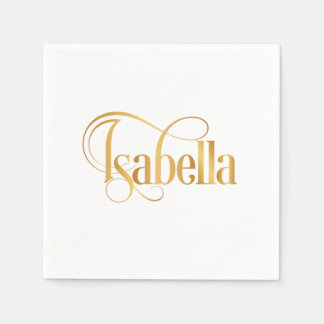 Personalized Swirly Script Isabella Gold on Black Disposable Napkins