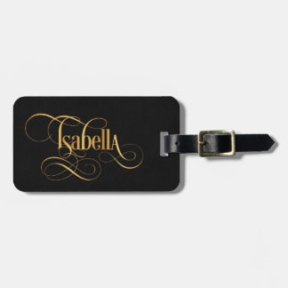 Personalized Swirly Script Isabella Gold on Black Luggage Tag
