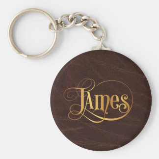 Personalized Swirly Script James Gold on Leather Basic Round Button Key Ring