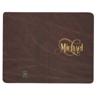 Personalized Swirly Script Michael Gold on Leather Journal