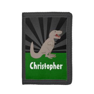 Personalized T-Rex Dinosaur Boys Tri-fold Wallet