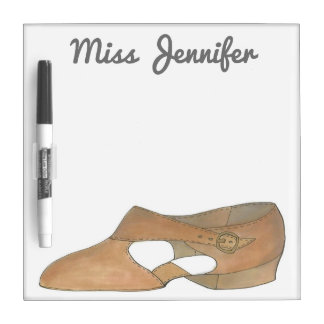 Personalized Tan Lyrical Shoe Dance Teacher Gift Dry-Erase Whiteboards