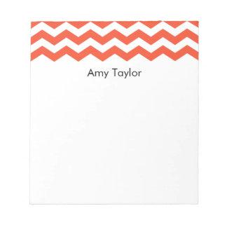 Personalized Tangerine Chevron Stripes Notepad