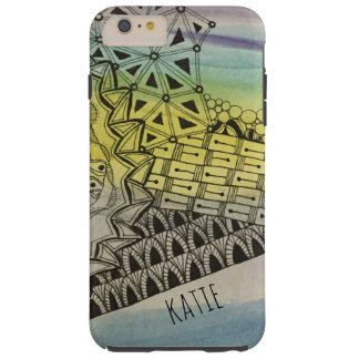 Personalized Tangled ZIA Zendoodle w/ Watercolor Tough iPhone 6 Plus Case