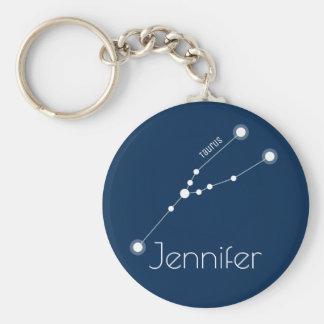 Personalized Taurus Zodiac Constellation Key Ring
