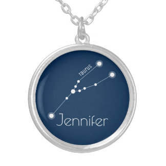 Personalized Taurus Zodiac Constellation Silver Plated Necklace