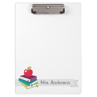 Personalized Teacher Books Apple Clipboard