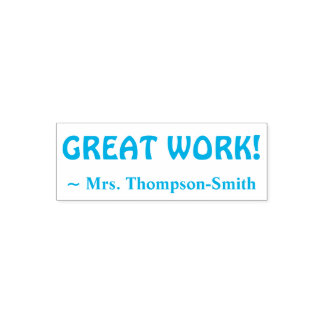 """Personalized Teacher Name + """"GREAT WORK!"""" Self-inking Stamp"""