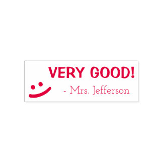 """Personalized Teacher Name """"VERY GOOD!"""" + Smile Self-inking Stamp"""