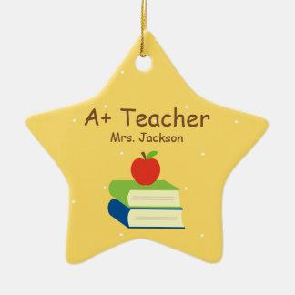 Personalized Teacher School Books and Apple Ceramic Star Decoration