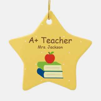 Personalized Teacher School Books and Apple Christmas Ornament