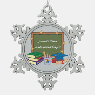 Personalized Teacher Snowflake Pewter Christmas Ornament