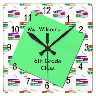 Personalized Teachers Books Green Paper Clock