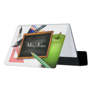 Personalized Teacher's Chalkboard Desk Business Card Holder