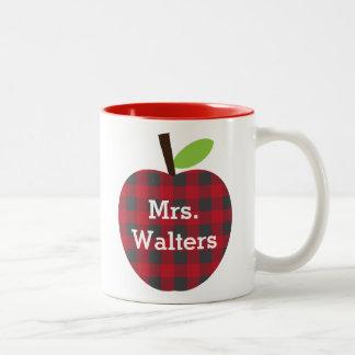 Personalized Teacher's Plaid Apple Two-Tone Coffee Mug