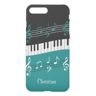 Personalized Teal and  Black music themed iPhone 8 Plus/7 Plus Case
