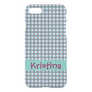 Personalized Teal and Purple Checks iPhone 8/7 Case