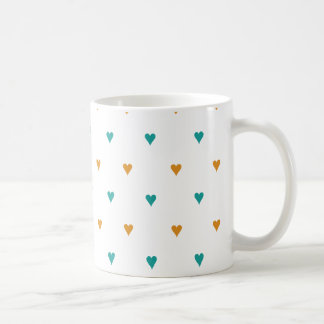 Personalized Teal and Rust Hearts Coffee Mug