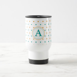 Personalized Teal and Rust Hearts Coffee Mugs