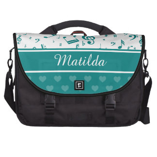 Personalized teal and white musical notes design commuter bags