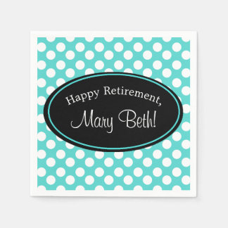 Personalized Teal and White Polka Dot Paper Napkin