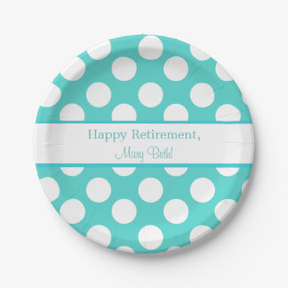 Personalized Teal and White Polka Dot Paper Plates