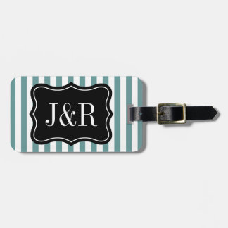 Personalized teal and white striped luggage tag