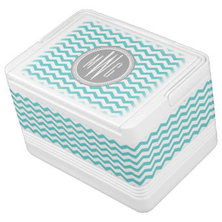 Personalized Teal Aqua Chevron Monogrammed Igloo Cooler