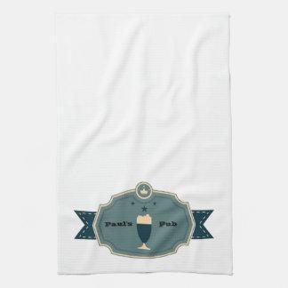 Personalized Teal Beer Label Tea Towel