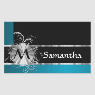 Personalized teal black and silver monogram rectangular sticker