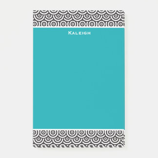Personalized Teal Black and White Retro Post-it Notes
