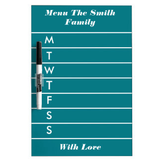 Personalized Teal Blue Weekly Dinner Menu Dry Erase Board