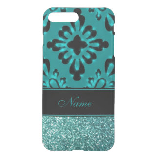 Personalized Teal Glitter Effect Black Elegance iPhone 7 Plus Case