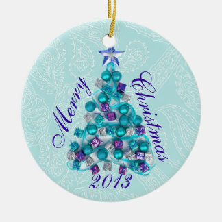 Personalized Teal Purple Christmas Tree Ornament