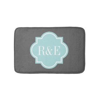 Personalized teal quatrefoil monogram bath mat