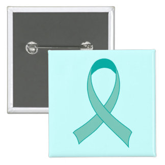 Personalized Teal Ribbon Fridge Magnet Gift 15 Cm Square Badge