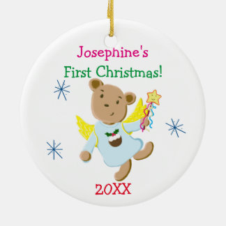 Personalized Teddy Bear Angel First Christmas Round Ceramic Decoration