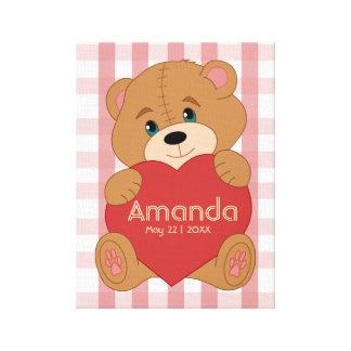 Personalized teddy bear heart monogram canvas print
