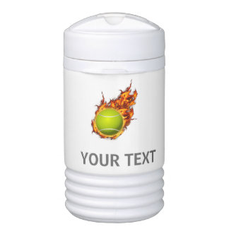 Personalized Tennis Ball on Fire Tennis Theme Gift Cooler