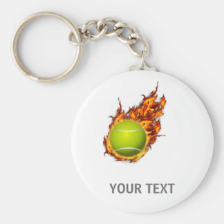 Personalized Tennis Ball on Fire Tennis Theme Gift Key Ring