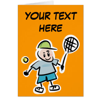 Personalized Tennis Card with cute cartoon player