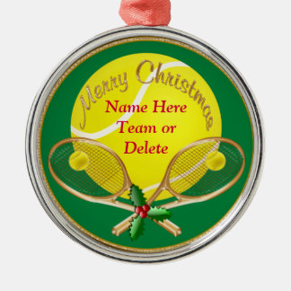 Personalized Tennis Christmas Ornaments, YOUR TEXT Silver-Colored Round Decoration