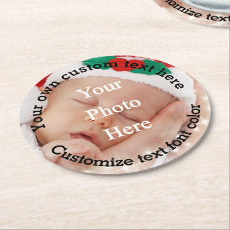 Personalized text and photo template round paper coaster