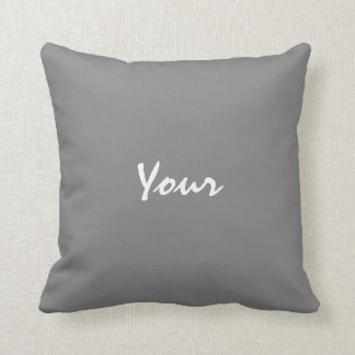 Personalized Text Grey and White Throw Pillow